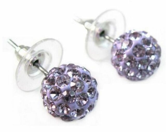 18K White Gold GP Purple Shamballa Crystal Ball Stud Earrings E106