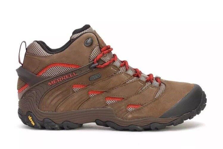 Men's Merrell Chameleon 7 Mid Waterproof Hiking Boot Boulder Brown J12041 Sz 9.5