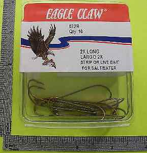 Eagle Claw 072RH-4//0 #4//0 8 Ct Extra Long Bronze Crochets 9851