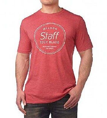 New Mens Wilson Staff Crew Neck T Shirt Red Silk Tour Blade Golf Tee M L XL XXL