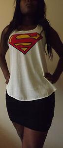 SUPERMAN-T-Shirt-Vest-Tank-TOP-Ladies-Girls-New-SUPER-HERO-TSHIRT-BATMAN-COMIC