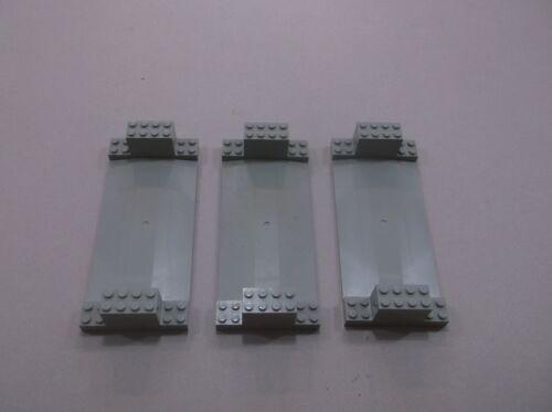 LEGO lot of 3 Road Base Plate Bumps Street Railroad Train Light Gray