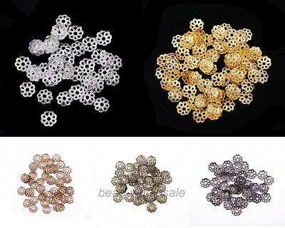 New 200Pcs Silver/Gold/Bronze/Copper Metal Flower Bead Caps 6mm For Jewelry