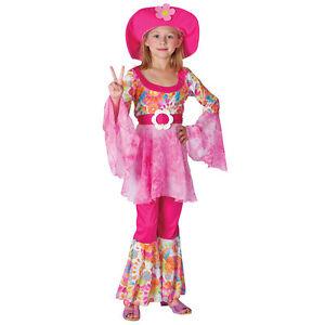 Infantil-Hippy-1970s-Rosa-Diva-Lujo-Disfraz-para-Ninas-Todas-las-Edades