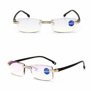 f97a83e993 Mens Women Rimless Slim Blue Light Blocking Reading Glasses +1.0~+4.0