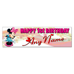 Details About Personalized Custom Printed Minnie Mouse Birthday Banner Party Decor