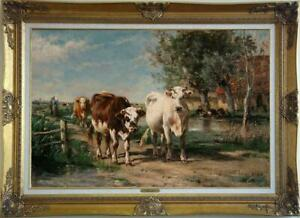 """Old Master-Art Antique Oil Painting animal Portrait cow on canvas 24""""x36"""""""