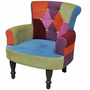 Image Is Loading Wooden Patchwork Fabric Armchair Colorful Chairs  Relax Seat