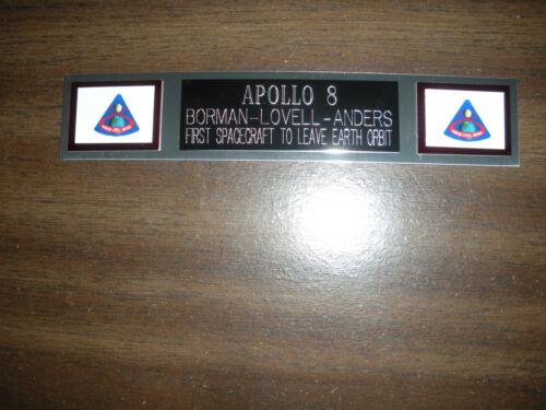 NASA NAMEPLATE FOR PHOTO//DISPLAY APOLLO 8