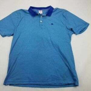 Brooks Brothers 1818 Mens Polo Shirt Blue Stripe Short Sleeve 100% Cotton XL