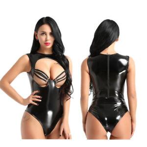 0cbee90deb9 Sexy Women Lingerie Faux Leather Open Bust High Cut Teddy Bodysuit ...