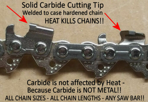 """*SOLID Carbide* Chainsaw Chain for Greenworks 8/"""" Pole Saw 20672 29072 32901320"""