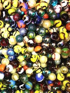 "Set of 500, 5/8"" Glass Player Marbles, Bulk Assorted Mega Lot, Free S&H"
