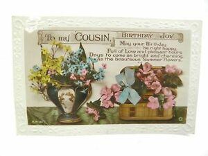 Antique RP postcard Birthday Card To My Cousin Birthday Joy vase flowers