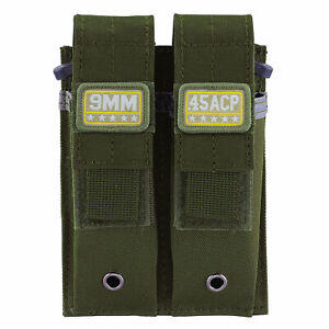 Army-Green-9MM-45-ACP-40-S-amp-W-Pistol-Mag-Pouch-Military-Double-Magazine-Holster