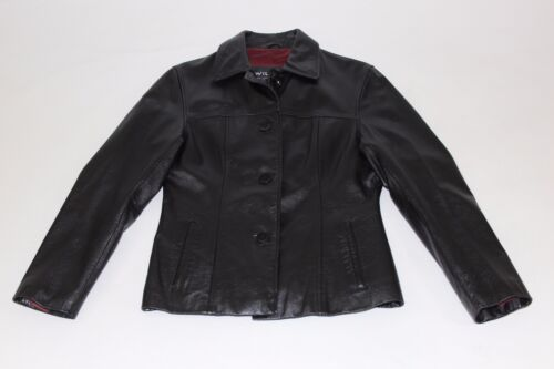 Sz Wilsons Jacket Kvinders Gratis Medium fragt Up Læder Lined Button Nice Sort qtwwUgnW5