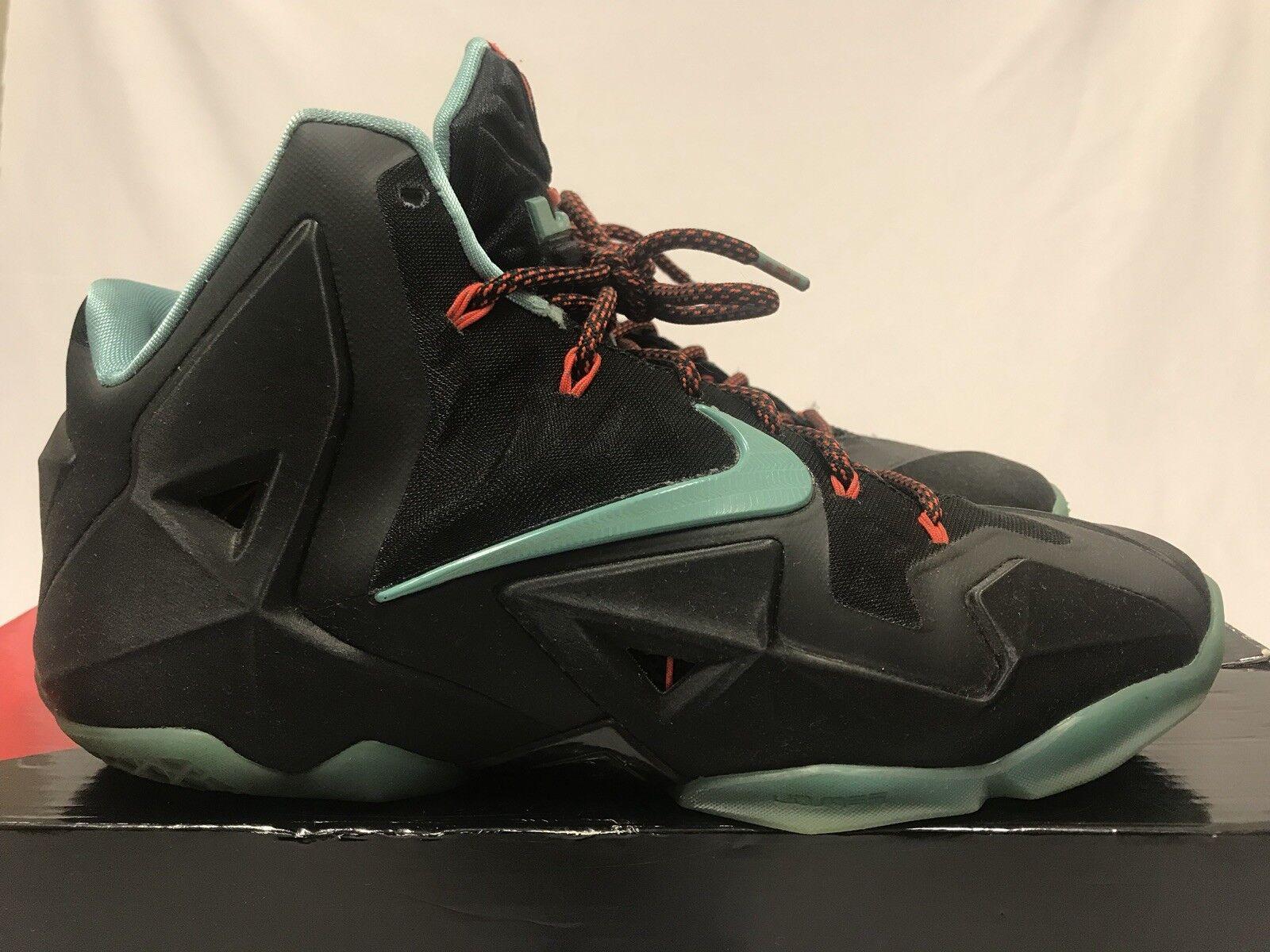 Nike LEBRON XI 11 Size 10.5 BLK JADE GREEN CRIMSON 616175-004