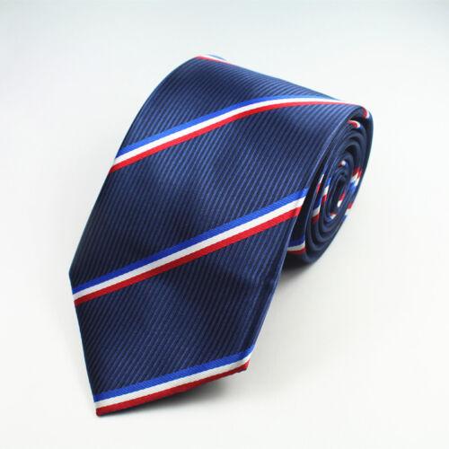 Blue White Red Tie Stripe Patterned Handmade 100/% Silk Necktie 8cm Classic Width