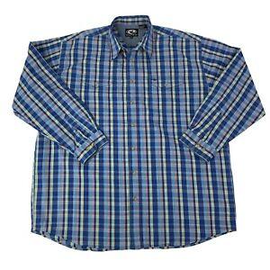 Roper-Mens-Size-2XLT-Tall-Blue-plaid-Long-Sleeve-Western-Cowboy-Shirt