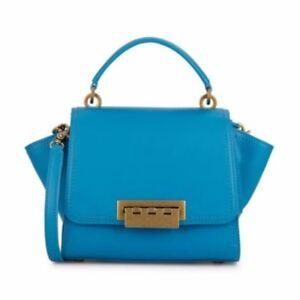 Zac Posen Mini Eartha Top Handle Bright Blue Leather Bag