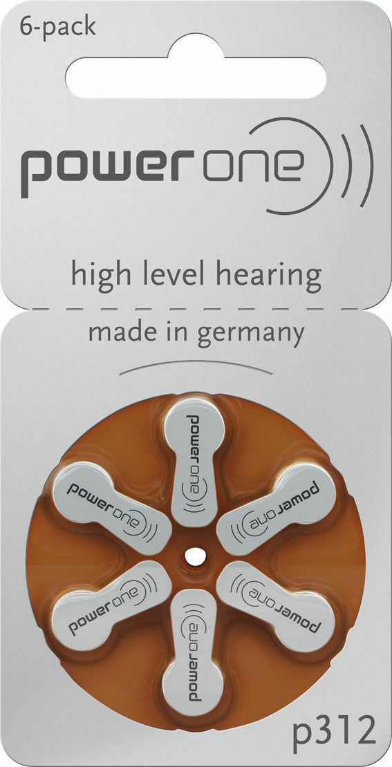 180 Batteries Hearing Aid Batteries Power One Model Size 312 Brown pr41