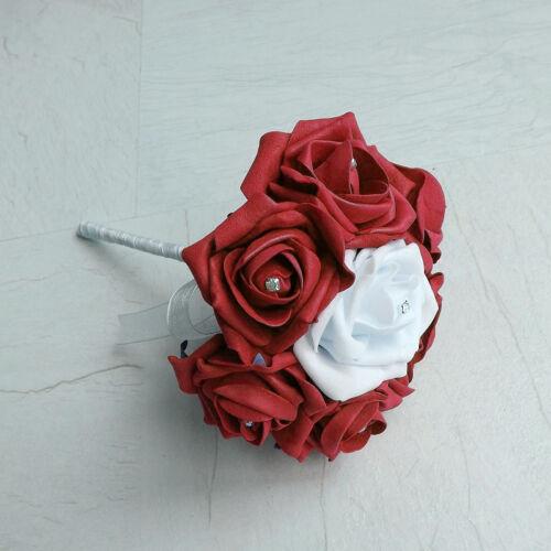 Bridesmaid Brides Bouquet Buttonhole Red Artificial Wedding Flowers