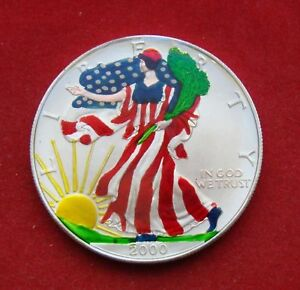 2000 Painted Colorized Walking Liberty Dollar 1 Oz Fine Silver Just Beautiful Ebay