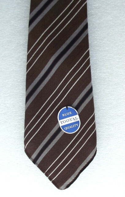 Striped Tootal tie vintage 1950s UNUSED BROWN cotton and rayon Blue Quality