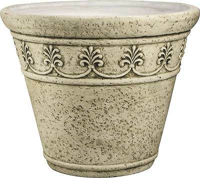 """NEW CASE OF (3) LARGE 20"""" MOSS GREEN CAST STONE FLOWER PLANTER TUBS 9147661"""