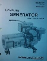 Homelite Generator Parts Manual 4pg E3000-1a / E4000-1a 17422 Textron Camping