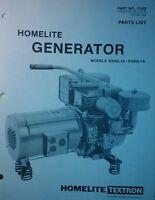 Homelite Generator Parts Manual 4pg E3000-1a / E4000-1a 17422 Textron Camping