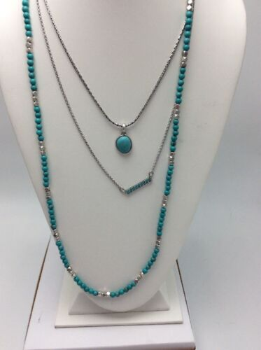 $34.50 Lucky Brand Multi Strand Turquoise Silver Tone   Inlay Bar Necklace LK4a