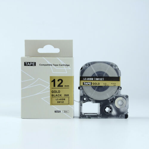"2PCS Compatible Epson Label Tape LC-4KBM LW-400 500 Black on Gold 1//2 x 26/"""