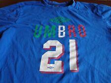 Team Italy Italia (Andrea Pirlo) #21 Umbro World Cup Medium Blue T-Shirt  T8