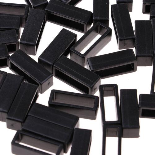 50x Kunststoff Schwarz Keeper Gürtelschlaufe Square Loop Für Rucksackgurt