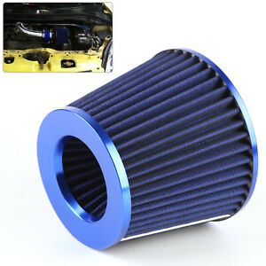 Durable-Blue-Finish-Car-Air-Filter-Induction-High-Power-Sports-Mesh-Cone-UK