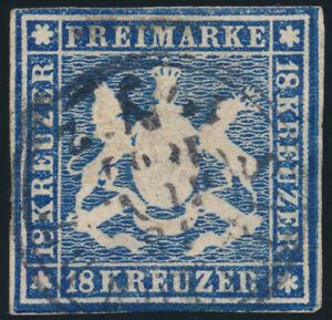 WURTTEMBERG-MiNr-15-gestempelt-gepr-Heinrich-Mi-1500