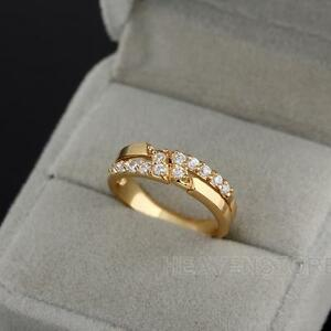 bfec415ffedcd Details about Fashion Girl 18k Gold Plated Embedded Diamond Crystal Ladies  Finger Ring Jewelry