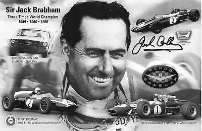 SIR JACK BRABHAM Signed 8X5 Photo Card FORMULA 1 LEGEND World Champion COA  | eBay