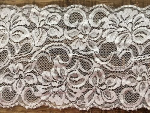 "laverslace Delicate Pale Ivory Wide Floral Stretch Tulle Lace Trim 6/""//15cm"