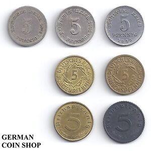 7 X 5 Pfennig Set Aller 5 Pfennig Münzen Von 1874 1944 Deutsches