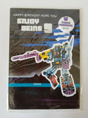 Transformers Decepticon Menasor 9th Birthday Card Badge HASBRO 1986 Scellé Nouveau