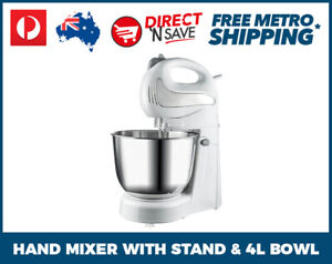 2-in-1-Hand-Mixer-With-Stand-4L-Bowl-300W-Hand-Held-Baking-Cooking-4-Speed