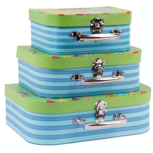 KinderKoffer 3er Set Elefanten Design - Puppenkoffer Aufbewahrung und Dekoration