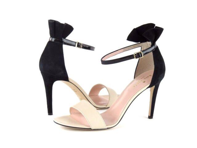 ffec33c9a0a4 Kate Spade New York Iris Sandal Nude Leather Black Suede Ankle Strap Heel  9.5