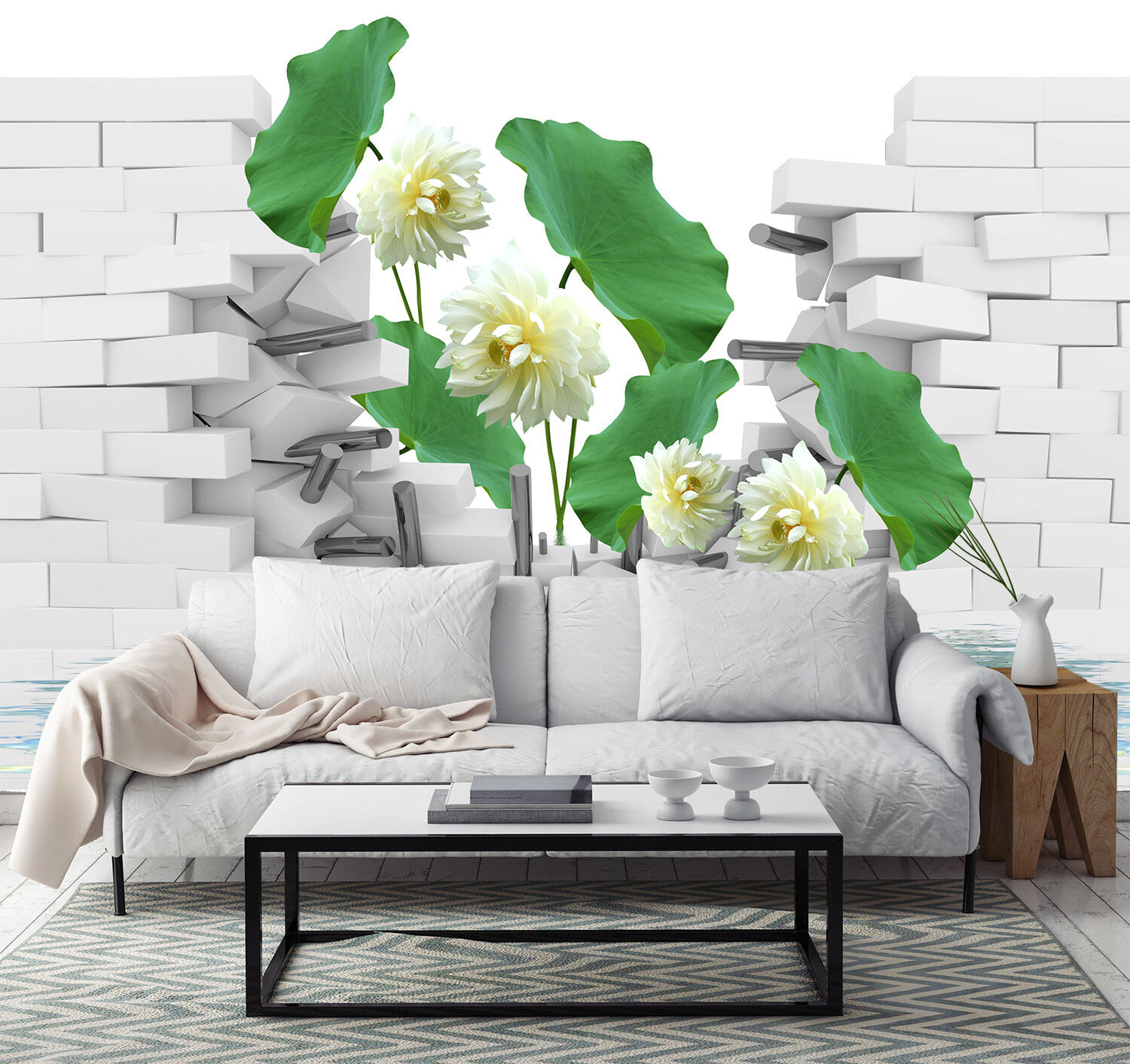 3D Weiß lotus 566 Wall Paper Print Wall Decal Deco Indoor Wall Murals