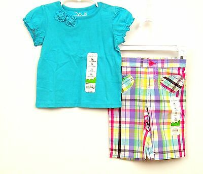 Girls Outfit Top/Capri Sz 18 months Turquoise Plaid Jumping Beans NWT