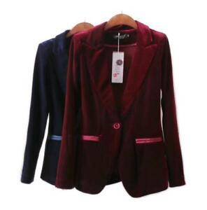 Velours de formelle rétro de costume Blazer Ol veste travail bureau Slim veste femmes OrxOTq1n6t