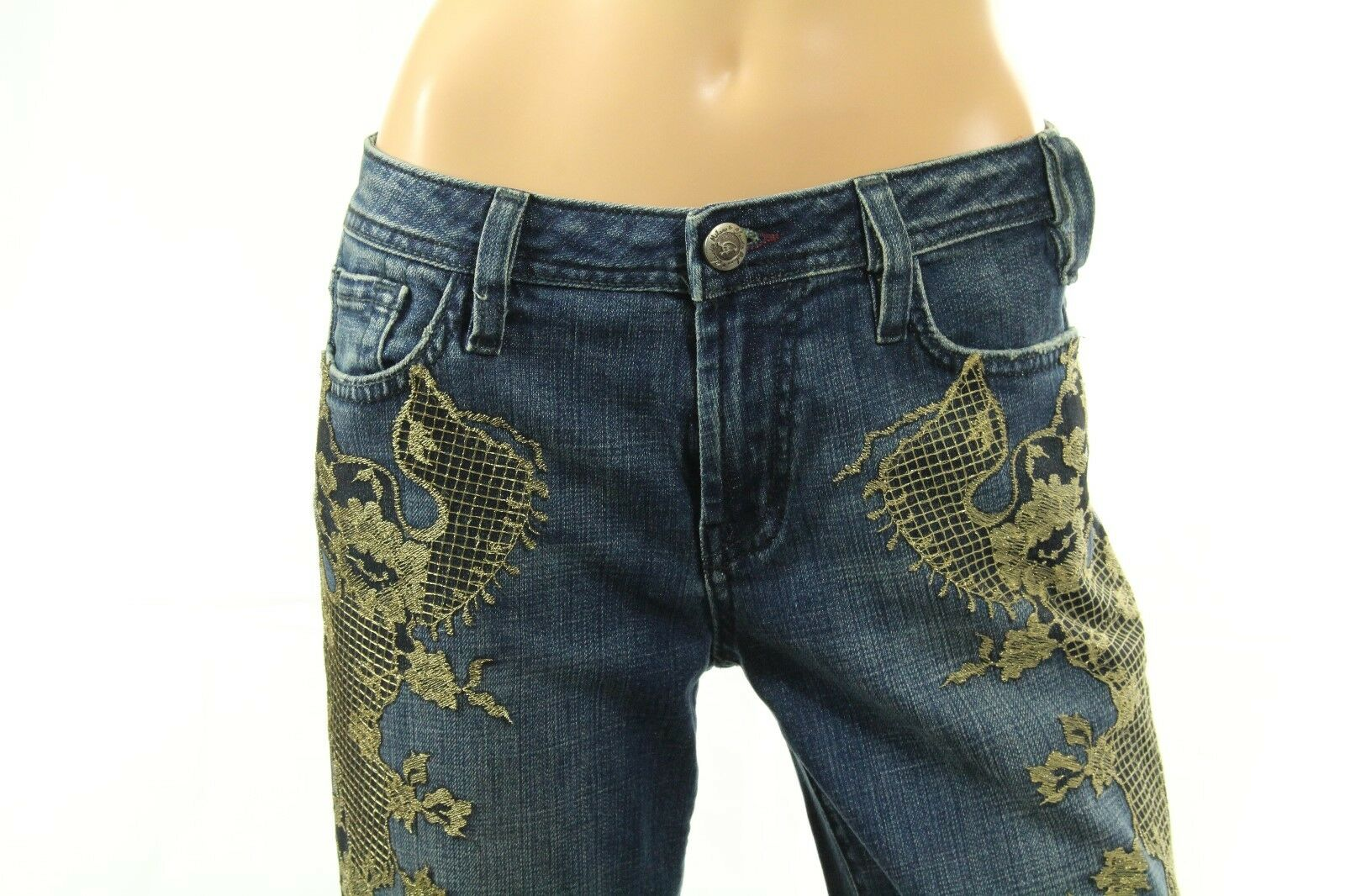 Miss Me Cameron Women's Jeans Metallic Lace Embellished Denim
