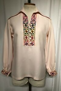 Vtg-Mexican-Style-Boho-Hippie-Embroidered-Shirt-Festival-Top-Peasant-Blouse-Pink
